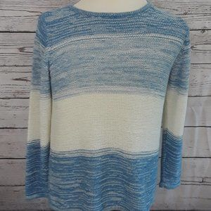 Blue White Metallic Thread XL Cotton Blend Sweater
